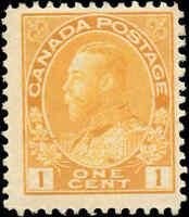 Canada Mint NH 1922 F+ WET PRINT Scott #105 1c Admiral King George V Stamp