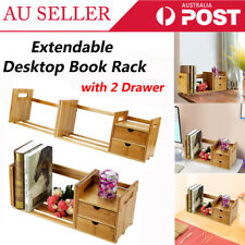 Extendable Bamboo Wood Bookshelf Holder Desk Tabletop Organizer Rack Storage