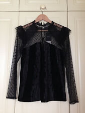 NEXT black velvet lace dot net high neck top blouse mod goth gothic victorian 12