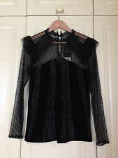 NEXT black velvet net lace high neck top blouse mod goth gothic victorian 12 NWT