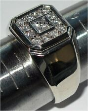 MENS WHITE GOLD 925 SILVER PAVE DIAMOND ICE OUT ENGAGEMENT WEDDING PINKY RING