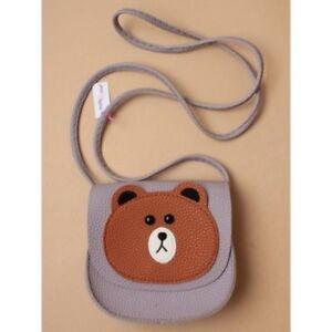 NEW Brown bear lilac purple saddle bag long strap children Trusted UK Seller