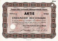 Pongs & Zahn Textilwerke AG Viersen 1941 RM Aktie Niederrhein