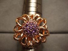 NEW LADIES STERLING SILVER AMETHYST CLUSTER RING SIZE 8 PINK 14K PINK FINISH