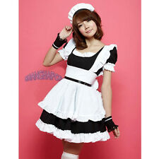 French Maid Outfit Waitress Fancy Dress Ruffle Costume Lolita Cosplay Black/Pink