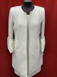 ALBERT NIPON SUIT/NEW WITH TAG/RETAIL$280/SIZE 8/LINED /knee length/IVORY/GOLD
