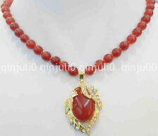 """8mm Red Ruby Round Beads Gems Oval Gold Color Pendant Necklace 18"""" JN1344"""