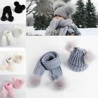 Knit Beanie Cap Scarf Set Toddler Kids Baby Boys Girl Warm Winter Pom Gift Hat