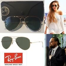 Authentic Ray-Ban Aviator 3025 W3234 Metal G15 Lens 55mm Gold Frame Sunglasses
