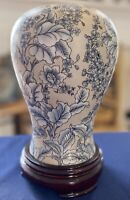 Vintage BOMBAY Blue & Cream Floral Vase With Glossy Dark Wooden Separate Base