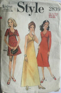 VTG 60 70s Style Sewing Pattern Girls Teen High Waisted Dress 3 Length Age 13 14