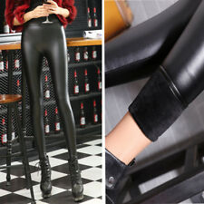 Women Stretchy Faux Leather Trousers Skinny High Waist Leggings Pencil Pants-eu1