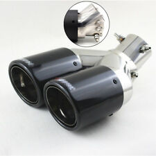 Universal Adjustable Inlet Angle Exhaust Dual Tip Muffler Pipe Glossy Carbon 1x