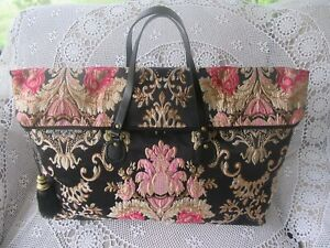 Women's Ladies Overnight Bag Weekender Carry on - Black Brocade w/ Metallic Gold