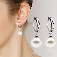 Womens White Pearl Dangle Ear Stud Earrings Silver Plated Fashion Jewelry FBC
