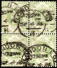 GB QV1887 USED BLOCK-4 GREEN 1SH SCT# A65/122 $72.50/STAMP, LONDON CANCEL,1886