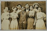RPPC Victorian Attractive Group of Young People School Real Photo Postcard N17