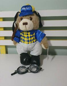 RACQ CAREFLIGHT TEDDY BEAR PLUSH TOY LIFE FLIGHT JOCKEY BEAR RIDING CROP