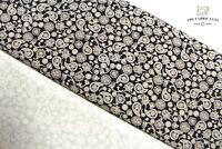 "Printed 100% Premium Cotton,Paisley Floral Print,Grey Black, High Quality, 44"""