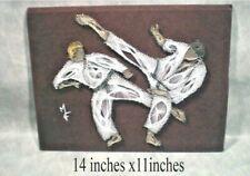 """string art martial art two combatants 11""""x 14"""" white on brown felt like material"""