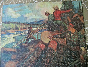 Vintage Perfect Picture Puzzle The Log Jam 15-1/2 x 19-1/2in Complete, 1940's