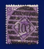 1869 SG108 6d Dull Violet (No Hyphen) Plate 8 J76(1) RC London GU Cat £190 ctar
