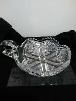 "ABP J. HOARE SIGNED BRILLIANT CUT CRYSTAL HOBSTAR & CROSSHATCH 5 3/4"" NAPPY DISH"
