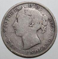 Newfoundland 20 Cents Coin 1890 KM# 4 Canada Silver .925 Queen Victoria Twenty