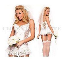 Sexy Mariée Costume sous-vêtements mariage jungesellen blanc voile lingerie L /