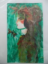 Cuban Artist Charo Hand SIGNED ART Painting LADY TEAL DRAGONFLY REAL FIBER 78