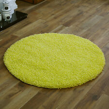 SMALL EXTRXA LARGE MODERN RUG 5CM THICK PILE LEMON YELLOW PLAIN SOFT SHAGGY RUG