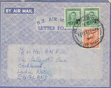 M 538 Wellington 1953 Letter Form / aerogramme to UK;  3 stamps