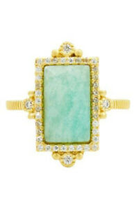 FREIDA ROTHMAN Amazonite Allure Cocktail Ring In Gold Glittering cubic Size 9