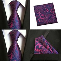 Men Purple Pink Paisley Tie Pocket Square Handkerchief Hanky Set Lot HZTIE0081