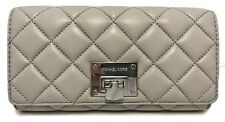 MICHAEL KORS Astrid Carryall Quilted Leather Clutch Wallet Pearl Grey Msrp 198
