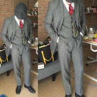 Gray Men Suit Tweed Notch Lapel Jacket Vest Pants Wool Blend Vintage Tuxedo Coat