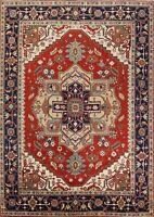 Geometric Oriental Indo Heriz Serapi Area Rug Classic Hand-Knotted 9x12 Carpet