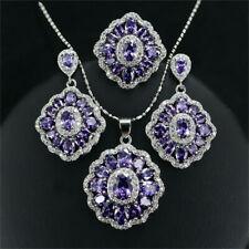 15 CT Oval Purple Amethyst Diamond Ring Earrings Pendant Necklace 3 Wedding Set