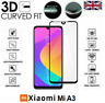 For Xiaomi Mi A3 Full 3D Tempered Glass 9H Screen Protector Cover Black Edge