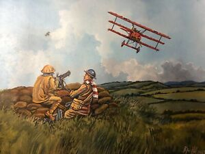 Original Acrylic Painting by P.Hill. Fokker Dr.1. Von Richthofen Red Baron. 1918