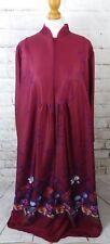 "Vintage maxi dress Size 20 22 bust 45"" maroon floral long sleeve 70s plus size"