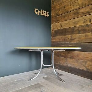 1950s Stainless Steel Dinette Dining Table with Yellow Formica Top MCM