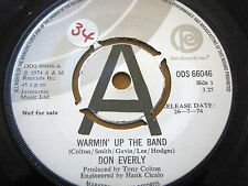 """DON EVERLY - WARMIN' UP THE BAND  7"""" VINYL PROMO"""