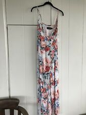 MinkPink Floral Wrap Style Summer Maxi Dress With Split Size Small 10/12