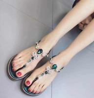 Womens Bohemia Flat Thong Sandals T-Strap Rhinestone Beach Shoes Flip Flops Size