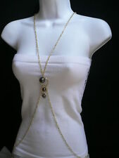 Fashion Gold Metal Big Pewter Beads Jewelry New Women Balls Body Chain Long Sexy