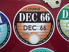 Replica TAX DISC Static Cling Window STICKER December 1966 Reusable Replacement
