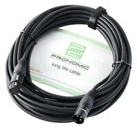 10m Cable de Microphone DMX Scene Audio DJ XLR 3 Broches Femelle à Mâle Noir