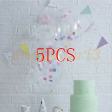 "5 Pcs 12"" Clear Latex Confetti Balloons Birthday Party Wedding Decorations Hot"