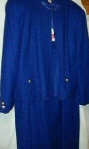 Talbot's 100% Wool Royal Blue Suit- Lined- Size 20